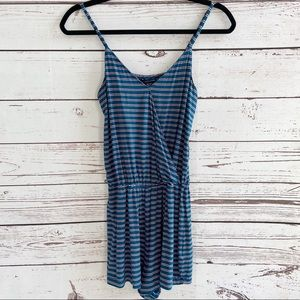 American Eagle Outfitters Teal Stripe Wrap Romper